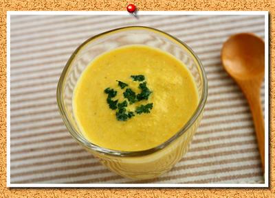 とうもろこしの豆乳冷製スープ。
