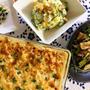 *チキンマカロニグラタン&青菜とシーチキンの煮びたし&ポテサラの夕ご飯*