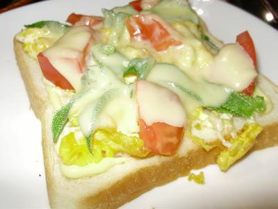 話題の「アイスプラント」とスクランブルエッグのチーズトースト