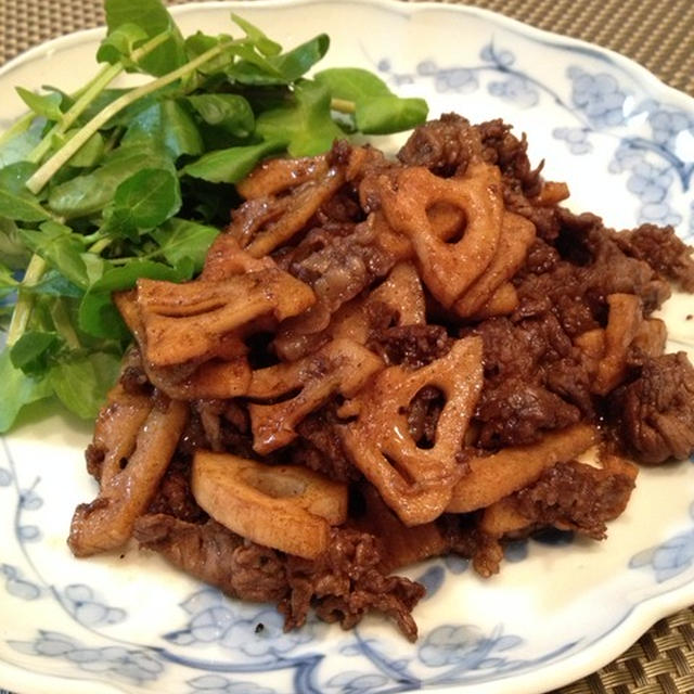 「蓮根と牛肉のバルサミコでさっと炒め」。