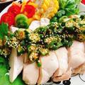鶏胸【蒸し鶏】にぴったり【オクラソース】(動画レシピ)/Steamed Chicken with Okra sauce.