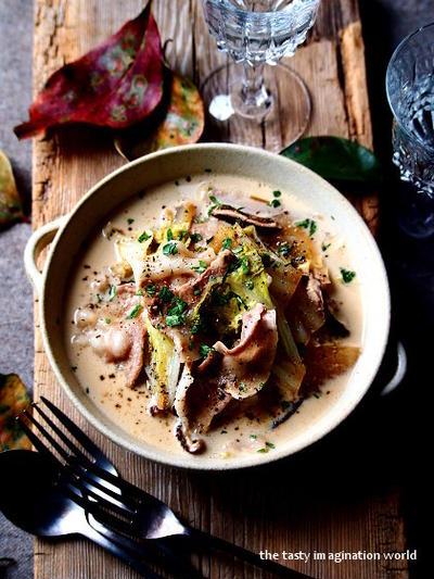 白菜と豚バラの和風クリーム煮