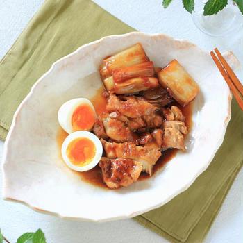 **圧力鍋レシピ**鶏もも肉とねぎのうま煮