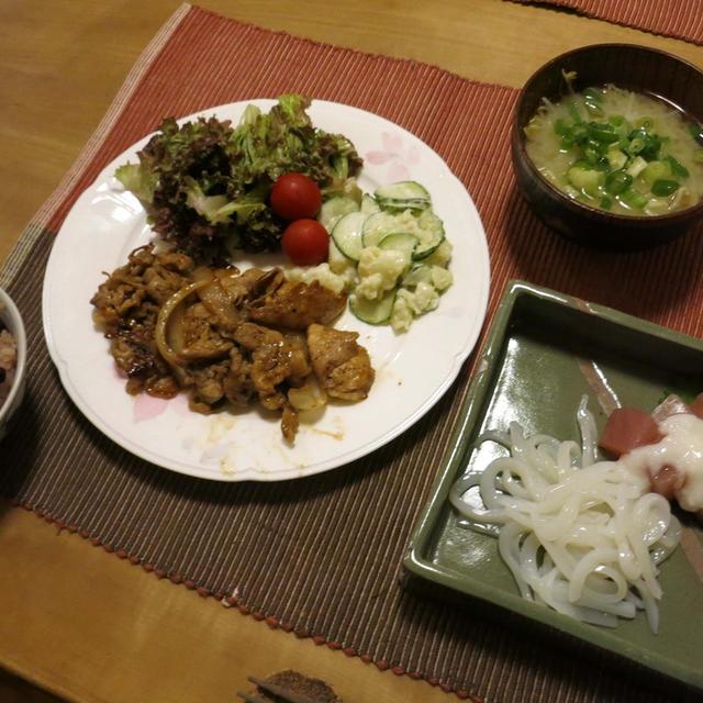 豚の生姜焼など和の晩ご飯 と 思い出の「相楽園」♪
