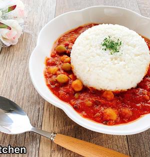 包丁いらず&レンジで!簡単さば豆トマトカレー