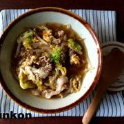 【簡単!!スープ】焼肉のたれで*豚もやしキャベツのかきたまスープ