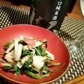 野芹と筍の梅土佐和え、こしあぶらと新若布のポン酢浸し、いたどりの山葵醤油和え、りゅうきゅう翡翠煮