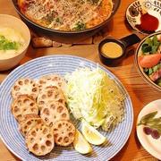 シャキシャキもっちり~♡レンコンの挟み揚げ定食【山芋鉄板のレシピ】