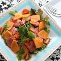 柿と生ハムのオイルサラダ☆この甘じょっぱさがワインにも合うんです!