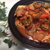 豚ヒレ肉ときのこのトマト煮込み