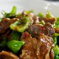 ■簡単!!5分【ピーマンとラム肉のオイスターチリソース炒め】材料&調味料で5っつだけ!!