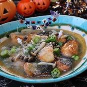 鮭とキノコとオクラのヘルシーおろし煮