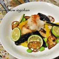 【おうちのみ大使】鯛の塩焼と素揚げ野菜。すだちを添えてさっぱりと。