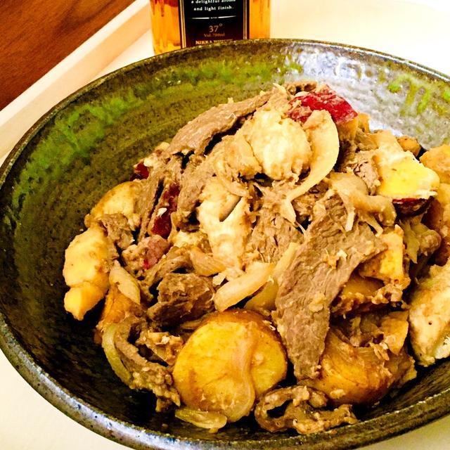 牛ロースと里芋とサツマイモとジャガイモのポン酢炒め♡