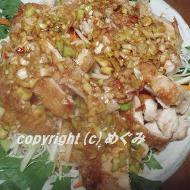 蒸し鶏のパリパリ焼き