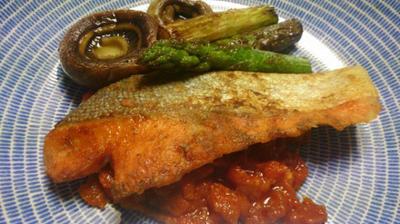 野郎飯流・辛いトマトソースで食べる焼き鮭