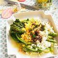 アスパラガスとリーフレタスのソテー 卵とアンチョビのソース by 庭乃桃さん