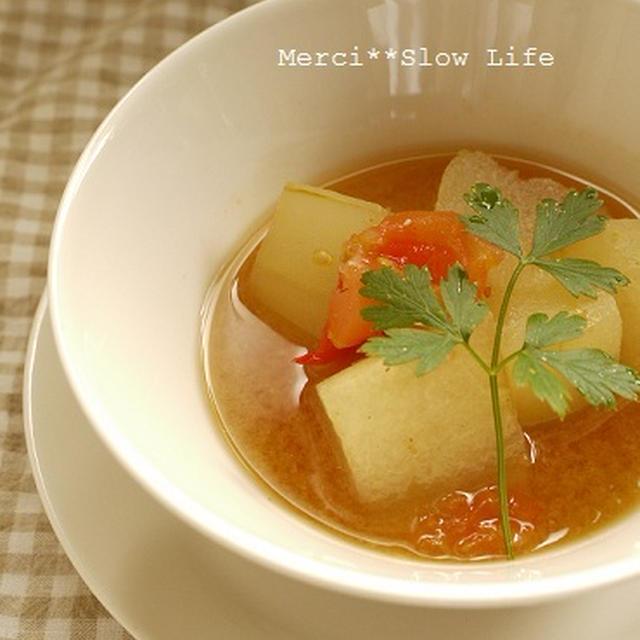 茅乃舎出汁で!旬の冬瓜を使ったあっさりスープ♪