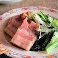 <厚切りベーコンと小松菜たちの炒め物>