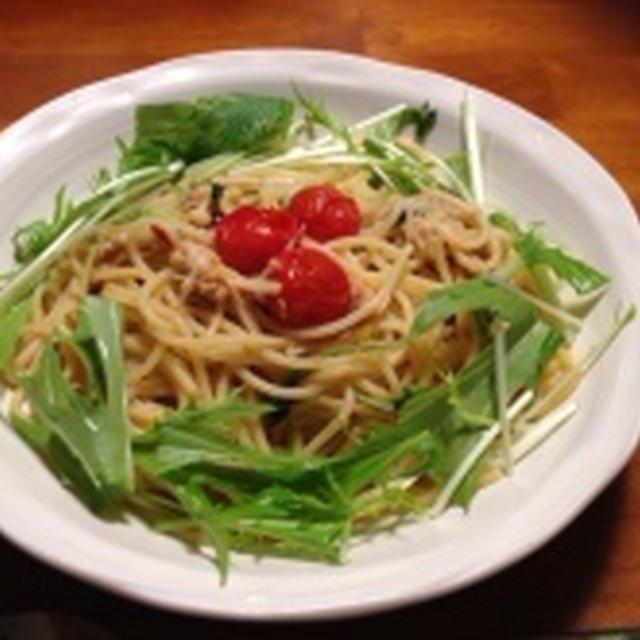水菜とツナのペペロンチーノ。
