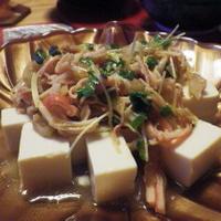 ザーサイ・かにかま・かいわれのピリ辛豆腐サラダ