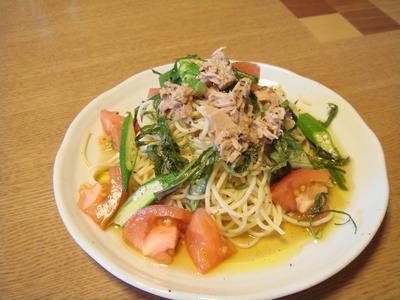 めんつゆで冷たい夏野菜パスタ。