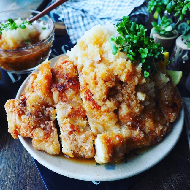 おかわりがとまらない❤️鶏むね肉でさっぱりヘルシー♪レモンおろしポン酢揚げ鶏❤️
