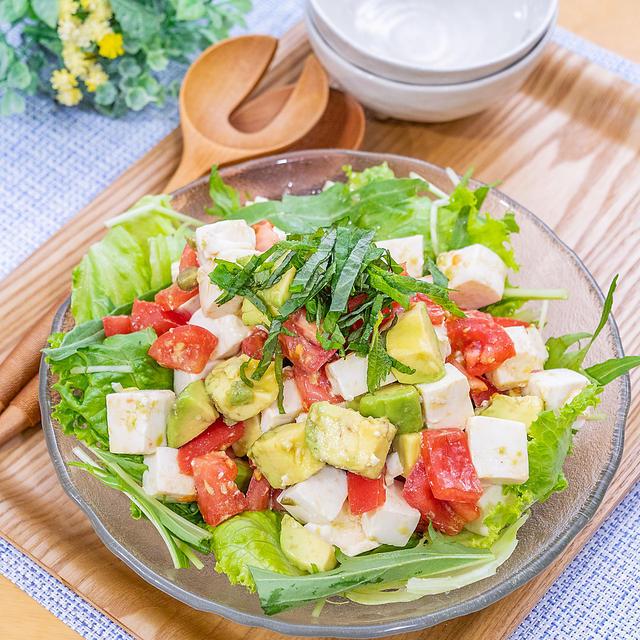 レモンで爽やか〜♪豆腐とアボカドトマトのコロコロサラダ(*´∀`*)