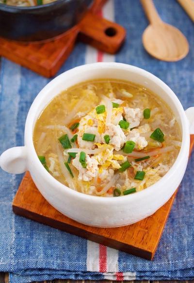 包丁いらず♪胃腸にもお財布にもやさしい♪『鶏ひき肉ともやしのかき玉スープ』