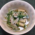 水菜と舞茸と油揚げの白だし煮、刺身こんにゃく