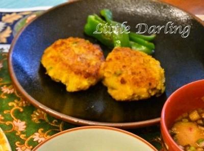 【かぼちゃバーグ カレー味】子供もパクパク野菜のハンバーグ お弁当にもおススメ