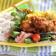 から揚げ弁当/ホイルでフライパンを区切って複数同時調理