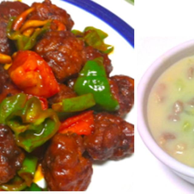 薄切り肉のバルサミコ酢豚風、ロメインレタスの明太サラダ、スイートポテト