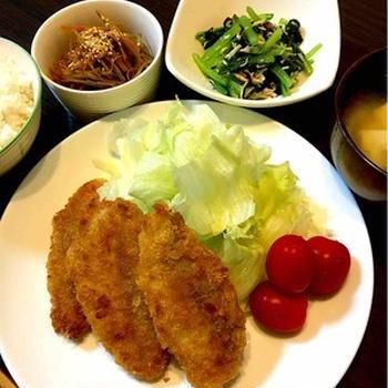 白身魚のフライの晩ご飯