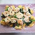 ふわふわ卵に小松菜とえびのせマヨかけ