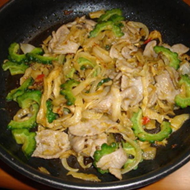 豚肉とザーサイ、ゴーヤの炒め物