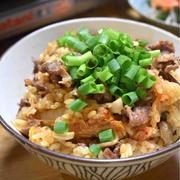 【牛肉とキムチの炊き込みご飯】#簡単#炊き込みご飯#炊飯器お任せ …お疲れ様!