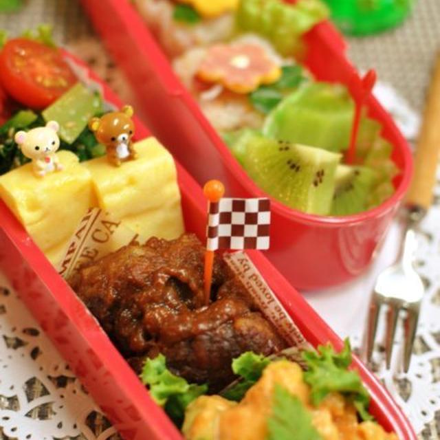 赤いポテサラと煮込ハンバーグのお弁当