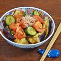 【暑さ対策レシピ】水茄子とトマトきゅうりのおかか酢醤油和え