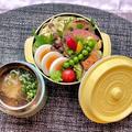 《スープジャー弁当》鶏そば、ゆで卵、キャベツの塩昆布和え、豆もやしおひたしなど