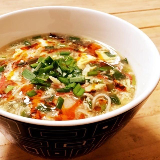 野菜と豆腐の酸辣湯スープ