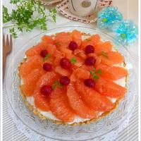 水切りヨーグルト DE  メープル玄米入り ヨーグルトレアチーズタルト(ラズベリーとグレープフルーツ)