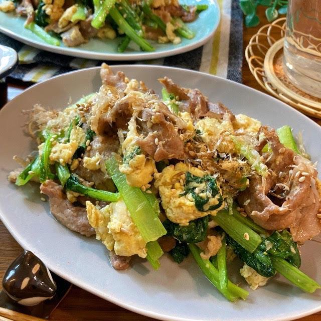 フライパンひとつde簡単♡豚肉と小松菜の玉子炒め【#豚肉#炒め物】