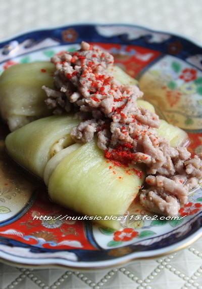 ルクエで「胡麻風味 肉くずし豆腐」と「翡翠茄子の肉タレかけ」