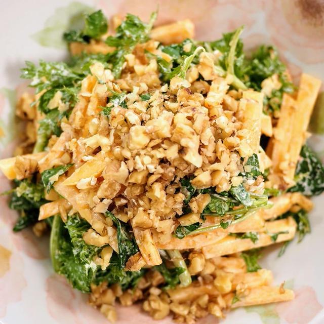 柿とクレソンとワサビ菜のサラダ【#美味しいレシピ #サラダは美味しい】