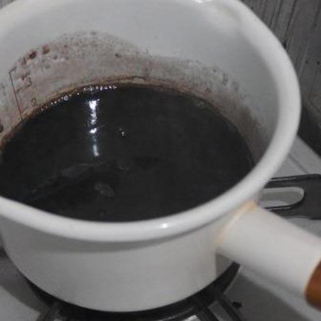黒豆煮汁かんてん作り