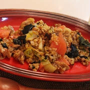 スパイス大使☆エスニックガーデン*レッドカレー味で♪豚肉と白菜と海苔の玄米レッドカレー炒飯☆