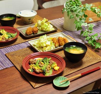 胃が疲れたら食べたくなる普通の晩ごはん《小松菜と豚肉の卵炒め》