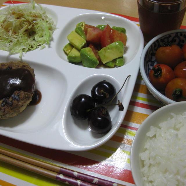 ワンプレート豆腐ハンバーグ&アボガドサラダ★クッキング