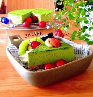 ♡混ぜるだけ♡抹茶レアチーズケーキ♡【オーブン不要*簡単】